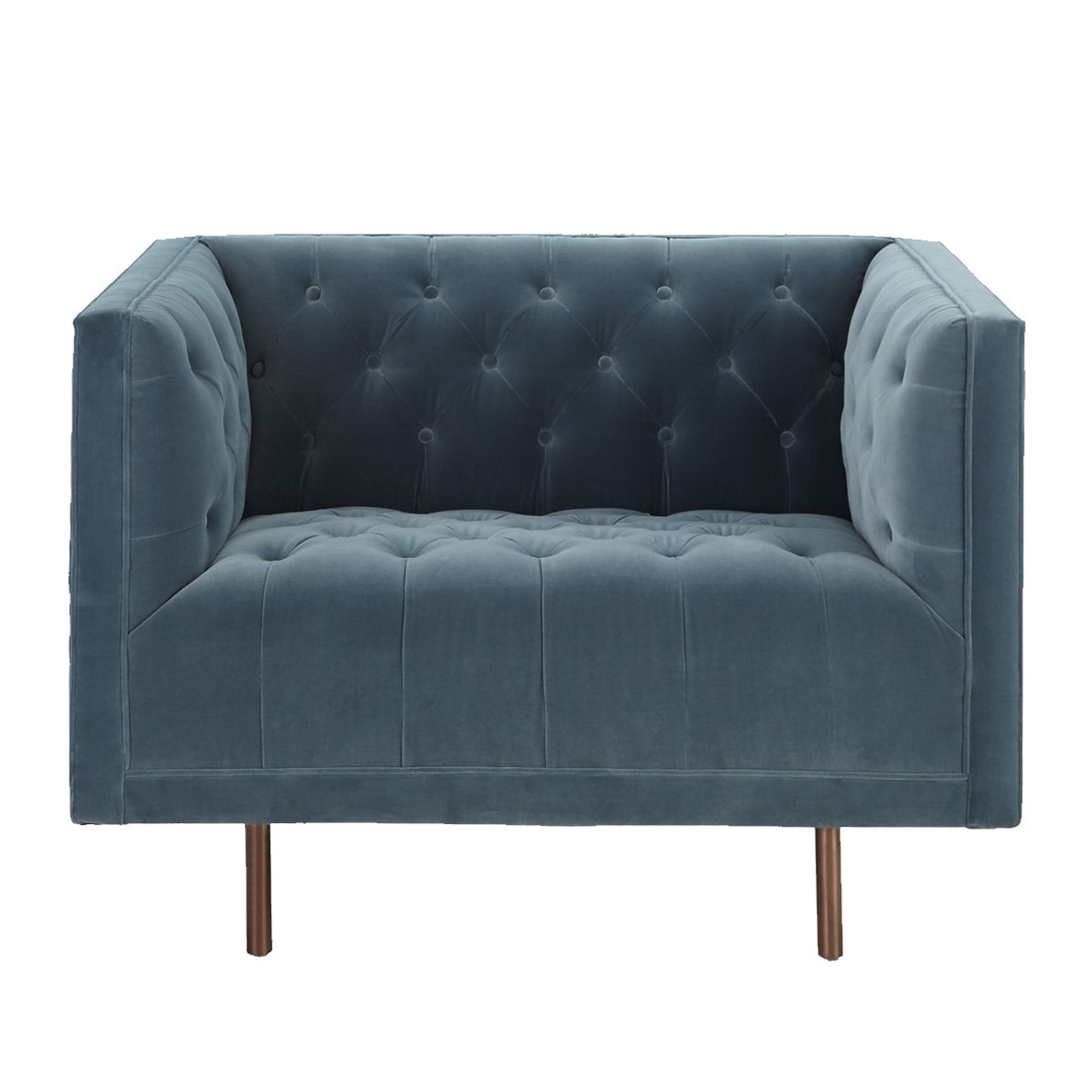 Lynette Blue Velvet Tufted Lounge Chair