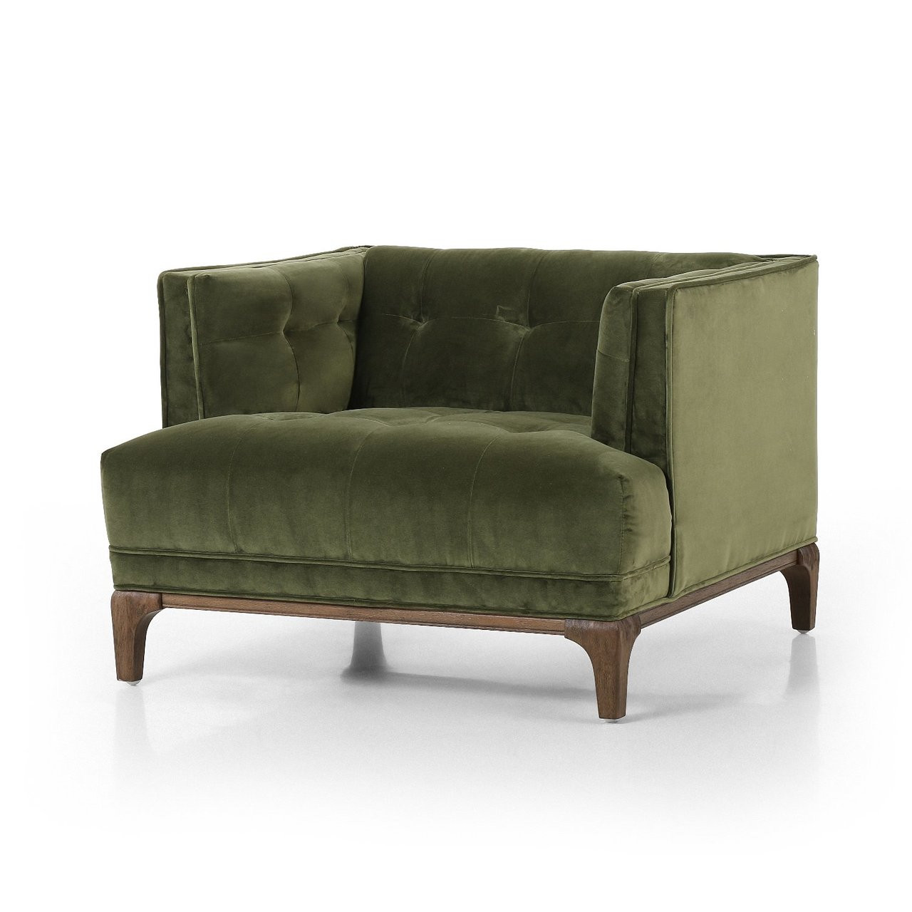 Dylan Mid Century Modern Green Velvet Tufted Club Chair