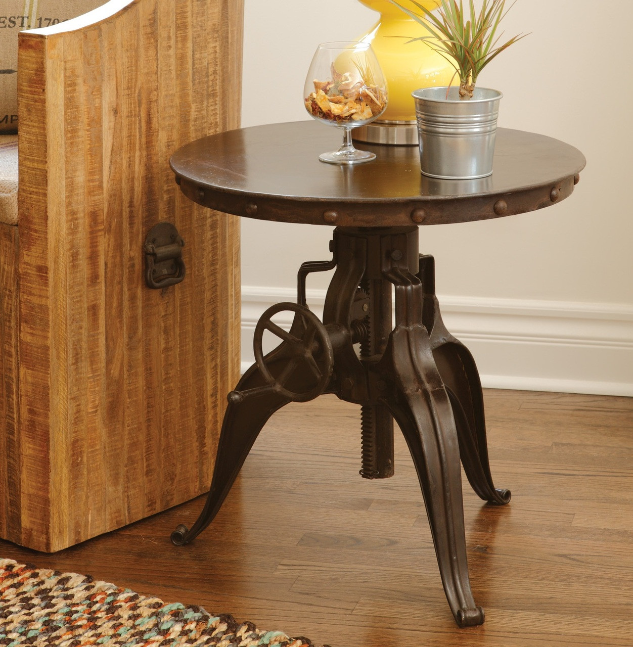 Gentil Black Iron Crank Side Table