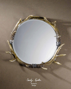 Stag Horn Round Decorative Wall Mirror