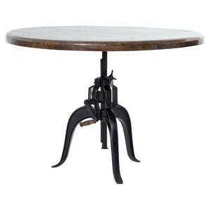 Industrial Cast Iron Wood Crank Dining Table 48""