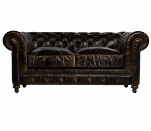 """77"""" Cigar Club Leather Upholstered Chesterfield Sofa"""