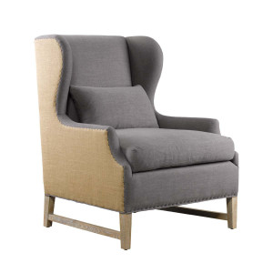 Amelie Blue Linen & Hemp Upholstered Wing Arm Chair
