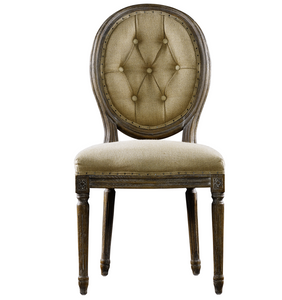 Louis Side Chair- Buttoned Hemp