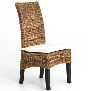 Banana Leaf Woven Side Chair with Cushion