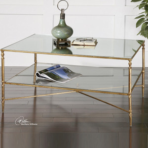 Henzler Mirrored Gold Leaf Coffee Table