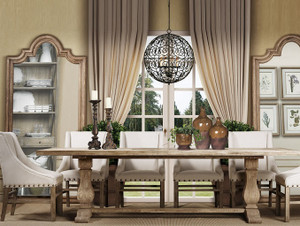 "Kingdom Oak Wood Trestle Dining Table 84"""