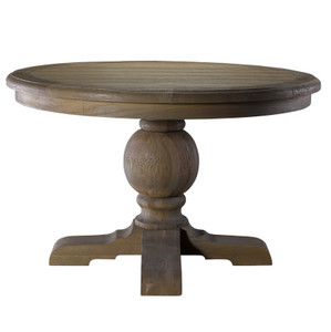Kingdom Oak Wood Round Pedestal Dining Table 48""