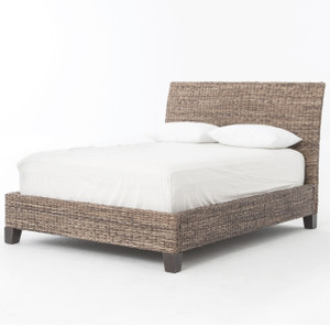 Banana Leaf Woven Platform Queen Bed - Gray
