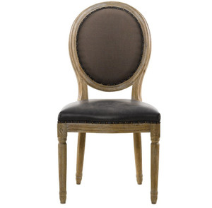Louis Vintage Leather Round Dining Side Chair