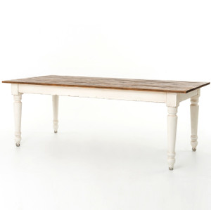 "Cottage 87"" Rectangular White Dining Room Table"