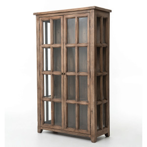 Coastal Solid Wood Display Storage Cabinet