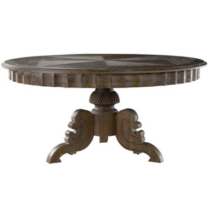 Parisian Gray Oak Round Pedestal Dining Table 63""