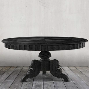 Parisian Antique Black Round Pedestal Dining Table 63""