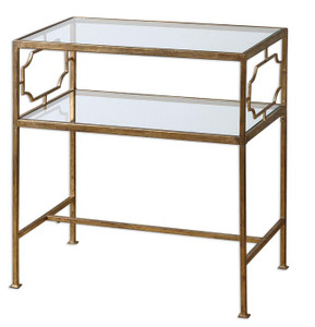 Genell Gold Leaf Accented Glass Side Table