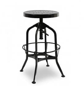 Toledo Black Adjustable Industrial Bar Stool