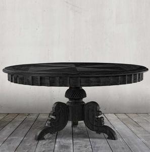 "Parisian Antique Black Round Pedestal Dining Table 55"""