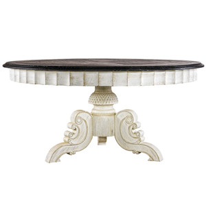 Parisian Black + White Round Pedestal Dining Table 63""