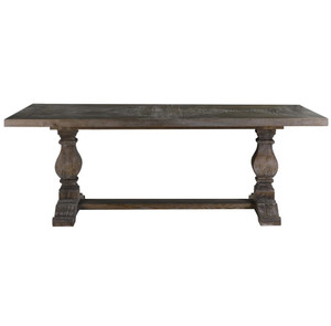 Kingdom Grey Oak Wood Trestle Dining Table 84""