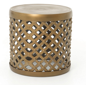 Marlow Brass Drum Stool Side Table
