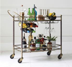 Felix Antique Brass And Marble Slim Bar Cart Zin Home