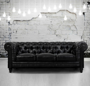 Zahara Tufted Black Leather Chesterfield Sofa