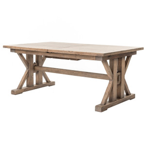 """Coastal Natural Wood Trestle Extension Dining Table 96"""""""