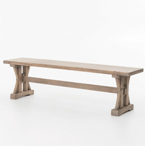 Coastal Rustic Solid Wood Trestle Dining Room Bench