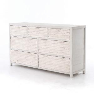 Coastal Reclaimed Wood White 7 Drawer Dresser