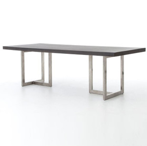 Masonry Chrome and Black Concrete Dining Table 94""