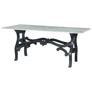 Dutch Industrial White Marble Top Dining Table