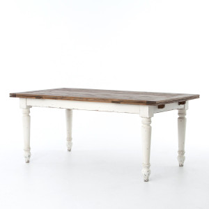 "Cottage 82"" Reclaimed Wood White Expanding Dining Table"