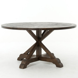 "Umber Reclaimed Wood 59"" Round Pedestal Dining Table"