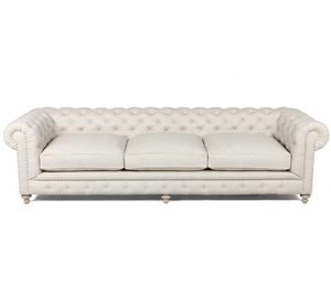 Finn Cigar Club Tufted Linen Upholstered Chesterfield Sofa 118""