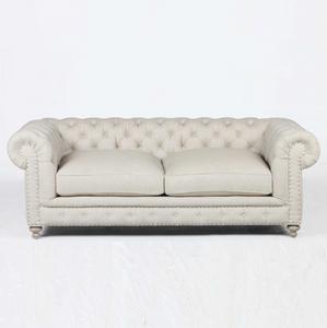 "Finn Cigar Club 77"" Tufted Linen Upholstered Chesterfield  Sofa"