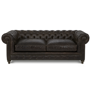 "Finn 90"" Cigar Club Leather Upholstered Chesterfield Sofa"
