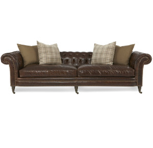 Lauren Cigar Club Tufted Leather Chesterfield Sofa 112""