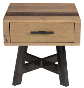 Farmhouse 1 Drawer Reclaimed Wood Side Table