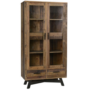 Farmhouse Rustic Reclaimed Wood Curio Cabinet with Doors