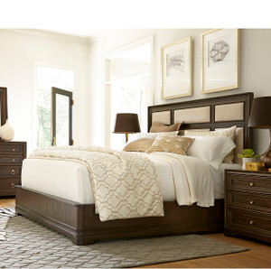 California Rustic Oak Queen Upholstered Panel Bed