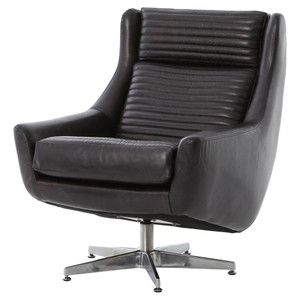 Charles Retro Black Leather Swivel Chair