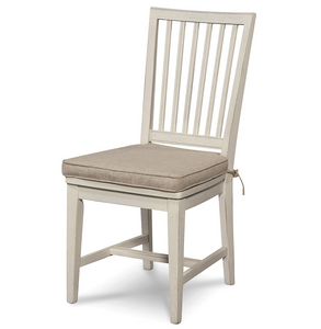 Coastal Beach White Dining Side Chair with Cushion
