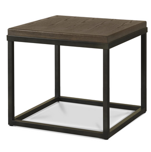 French Industrial Oak Wood + Metal Square End Table
