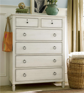Country-Chic Maple Wood 6 Drawers Chest - White