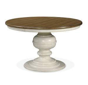 Country-Chic Maple Wood White Round Extendable Dining Table