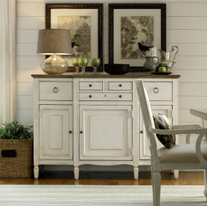 Country-Chic Maple Wood White Buffet Server Cabinet- Driftwood