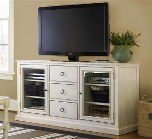 Country-Chic Maple Wood White TV Entertainment Console