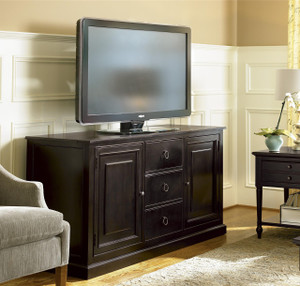 Country-Chic Maple Wood Black TV Entertainment Console