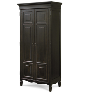 Country-Chic Maple Wood Tall Armoire Cabinet- Black