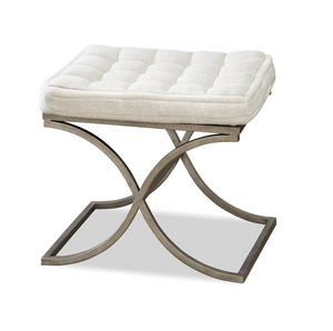 French Modern Button Tufted Bed End Bench